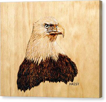 Canvas Print featuring the pyrography Eagle by Ron Haist