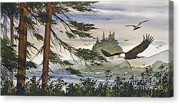 Eagles Majestic Flight Canvas Print by James Williamson