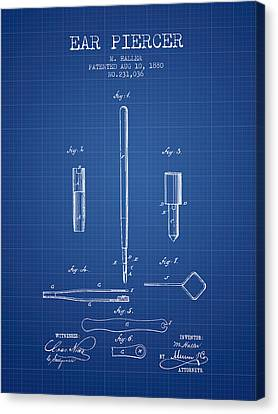 Ears Canvas Print - Ear Piercer Patent From 1880 - Blueprint by Aged Pixel
