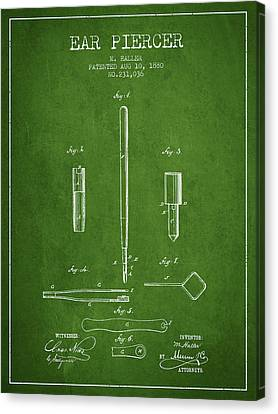 Ears Canvas Print - Ear Piercer Patent From 1880 - Green by Aged Pixel
