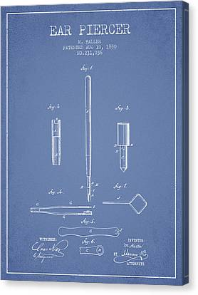 Ears Canvas Print - Ear Piercer Patent From 1880 - Light Blue by Aged Pixel