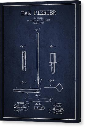 Ears Canvas Print - Ear Piercer Patent From 1880 - Navy Blue by Aged Pixel