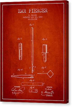Ears Canvas Print - Ear Piercer Patent From 1880 - Red by Aged Pixel