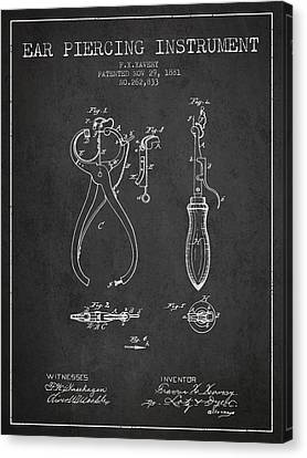 Ears Canvas Print - Ear Piercing Instrument Patent From 1881 - Charcoal by Aged Pixel
