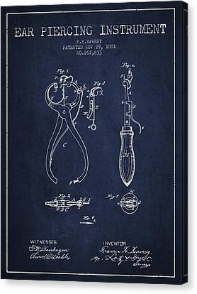 Ears Canvas Print - Ear Piercing Instrument Patent From 1881 - Navy Blue by Aged Pixel
