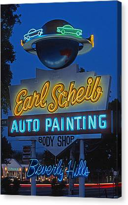 Earl Scheib Neon Bev Hills-1 Canvas Print by Barbara Filet