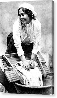Early 20th Century Washerwoman Canvas Print