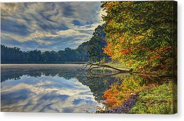 Canvas Print featuring the photograph Early Autumn At Caldwell Lake by Jaki Miller