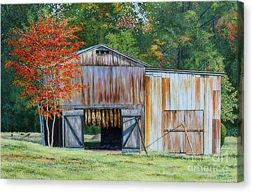 Early Autumn In Kentucky - Dark-fired Tobacco Barn Canvas Print by Phillip  Powell