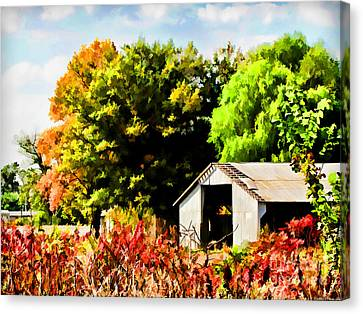 Early Autumn Tractor Shed  Digital Paint Canvas Print by Debbie Portwood