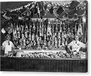 Early Butcher Shop Canvas Print by Underwood Archives