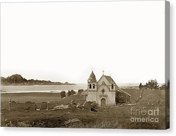 Early Carmel Mission And Point Lobos California Circa 1884 Canvas Print by California Views Mr Pat Hathaway Archives