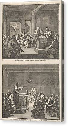 Early Christian Community Listening To A Reading Canvas Print