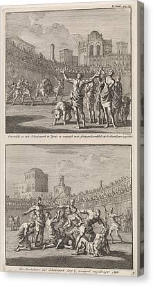 Early Christian Martyrs In A Roman Arena And Early Canvas Print by Jan Luyken And Jacobus Van Hardenberg And Barent Visscher
