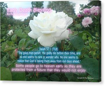Early Death Blessing Canvas Print by Bible Verse Pictures
