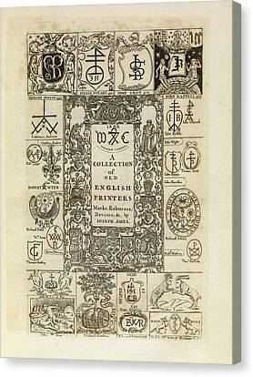 Early English Printers Canvas Print by Middle Temple Library