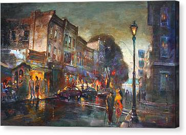 Early Evening In Main Street Nyack Canvas Print by Ylli Haruni