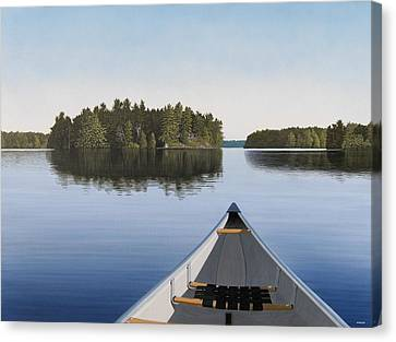 Early Evening Paddle Aka Paddle Muskoka Canvas Print