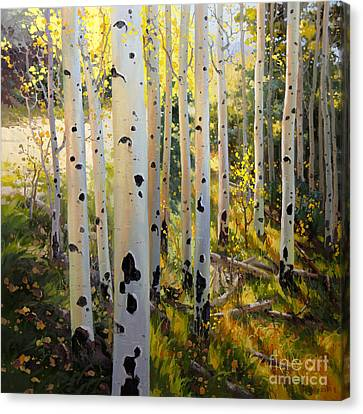 Early Fall Colors Of Aspen Canvas Print by Gary Kim