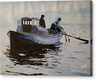 Early Gillnetter At Work Canvas Print by Bill Hubbard