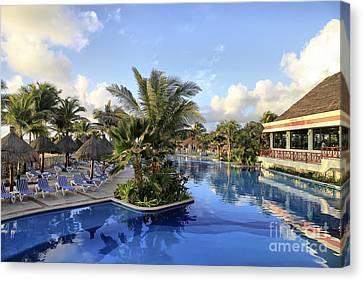 Canvas Print featuring the photograph Early Morning At The Pool by Teresa Zieba