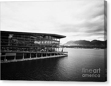 early morning at the Vancouver convention centre west building on burrard inlet BC Canada Canvas Print by Joe Fox