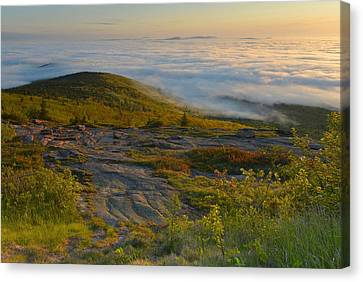 Early Morning Cloud Banks Canvas Print by Stephen  Vecchiotti