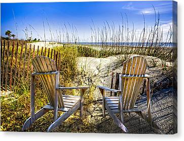 Early Morning Dunes Canvas Print by Debra and Dave Vanderlaan