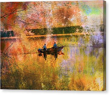 Early Morning Fishermen Looking For That Perfect Spot Canvas Print by J Larry Walker