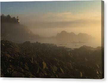 New England Lighthouse Canvas Print - Early Morning Fog At Quoddy by Marty Saccone