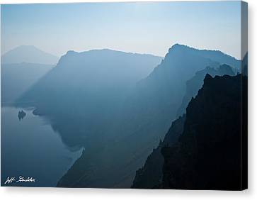 Canvas Print featuring the photograph Early Morning Fog Over Crater Lake by Jeff Goulden