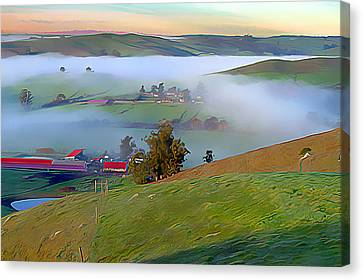 Early Morning Fog Over Two Rock Valley Canvas Print by Wernher Krutein
