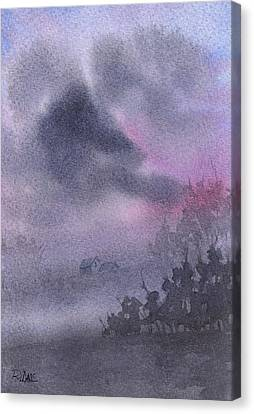 Canvas Print featuring the painting Early Morning Mist by Rebecca Davis
