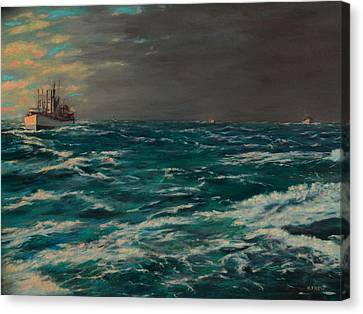 Early Morning North Atlantic Convoy Ww II Canvas Print
