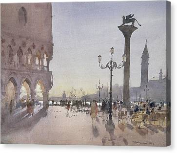 Early Morning, Piazzetta, Venice, 1989 Wc On Paper Canvas Print