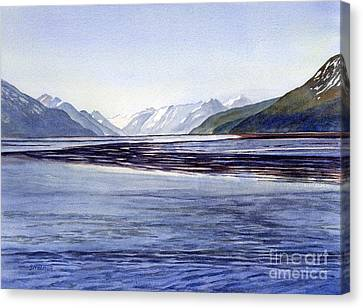 Snow-covered Landscape Canvas Print - Early Morning Shadows Turnagain Arm by Sharon Freeman