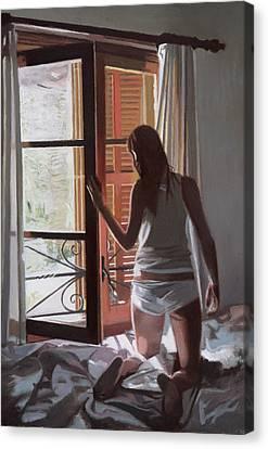 Early Morning Villa Mallorca Canvas Print by Gillian Furlong