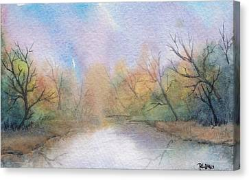 Canvas Print featuring the painting Early Morning Waterway by Rebecca Davis