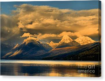 West Glacier Canvas Print - Early Season Snow Caps by Adam Jewell