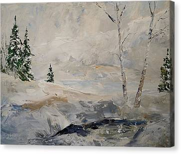 Canvas Print featuring the painting Early Snow by Alan Lakin