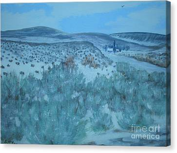 Canvas Print featuring the painting Early Snow In Idaho by Suzanne McKay