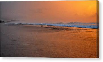 Dawn Sea Man Harmony Canvas Print