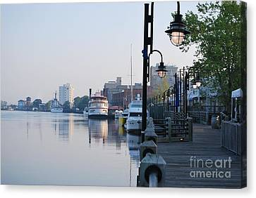 Canvas Print featuring the photograph Early Morning Walk Along The River by Bob Sample