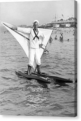 Early Wind Surfer In 1926 Canvas Print