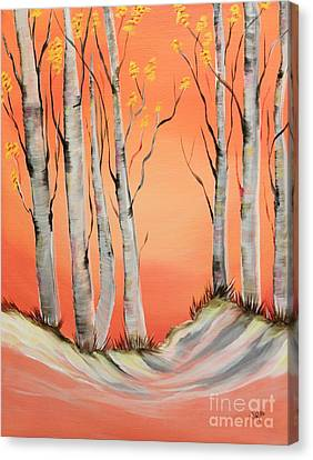 Canvas Print featuring the painting Early Winter Aspen by Janice Rae Pariza