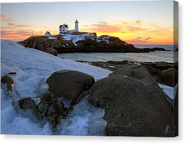 Early Winter Morning At Cape Neddick Lighthouse Canvas Print by Brett Pelletier