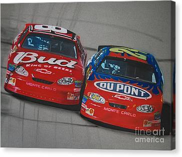 Earnhardt Junior And Jeff Gordon Trade Paint Canvas Print by Paul Kuras