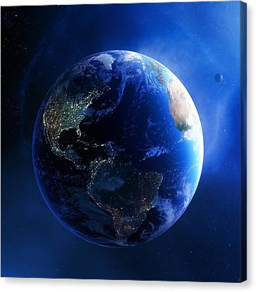 Earth And Galaxy With City Lights Canvas Print by Johan Swanepoel