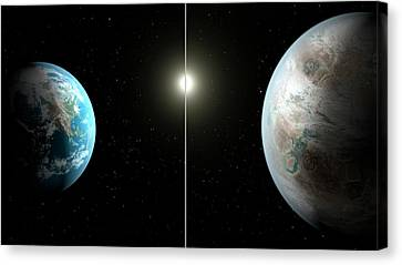 Earth And Kepler-452b Canvas Print by Nasa/ames/jpl-caltech