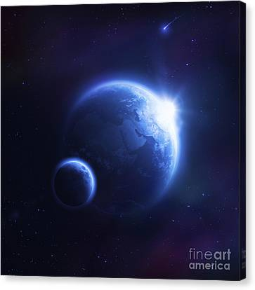 Earth And Moon In Outer Space Canvas Print by Evgeny Kuklev